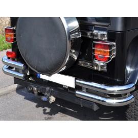 Pare-chocs arriére double tube Ø 75mm deux élém., acier inox - Jeep CJ 76 - 86